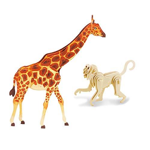 Georgie Porgy Malerei 3D Holz Puzzle Pack von 2 Farbige Tier Modell Giraffe AFFE Set Kinder Spielzeug Alter 3 + (HC212 19 stücke + JP212 27 stücke) Georgie Giraffe