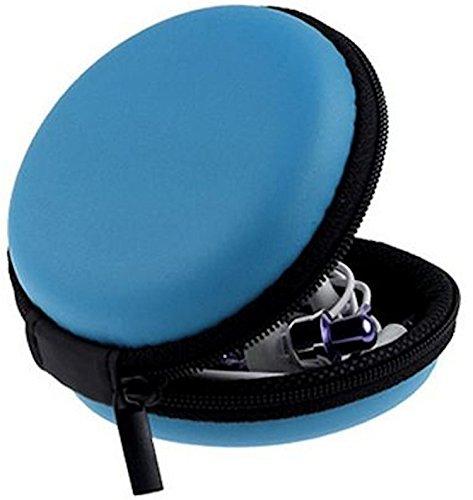 tomaxx Mini-Etui Blau Hülle z.B. für iPod Shuffle oder Etui für Ohrhörer, Headset, Kopfhörer, Bluetooth oder auch für SD-Karte, USB Stick, Battery, Schmuck, Ohrringe