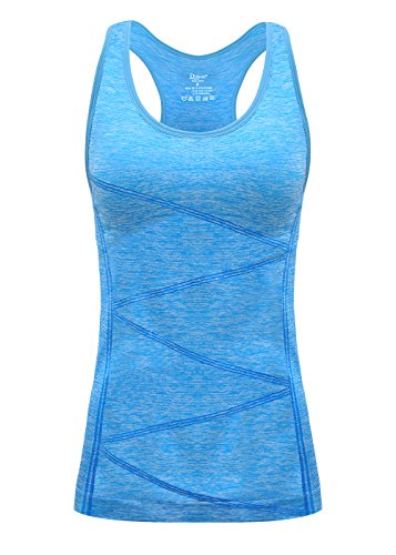 Disbest Damen Sport Tanktop, Sport Fitness Running Tops pro ärmellos Quick Dry Training Tank Tops(Power blau 42)