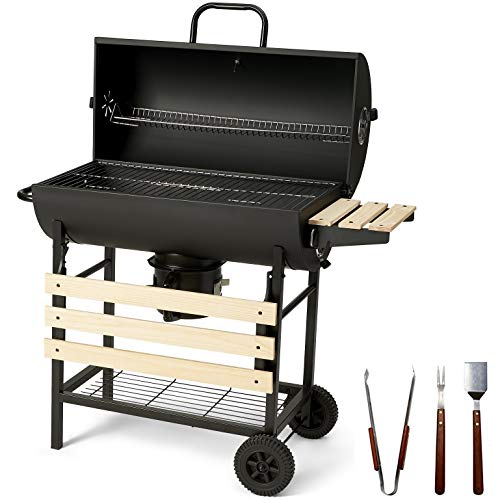 Charles Jacobs Large Charcoal Barrel BBQ with Mini Smoker And Accessories