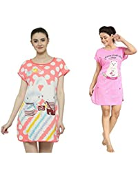 ICW Women's Cotton Nighties (Multicolour, Free Size) - Pack of 2