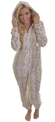 Cosy Womens, Ladies Cable Print Fleece Hooded All in One Onesie with Fur Lining and Pom Pom Ties, Cream/Taupe - 41rThgQkGaL - Cosy Womens, Ladies Cable Print Fleece Hooded All in One Onesie with Fur Lining and Pom Pom Ties, Cream/Taupe