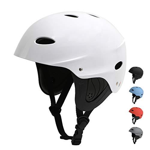 Vihir BMX Helm Wakeboard Helm Skaterhelm Fahrradhelm Herren Damen Jungs & Kinderhelm Wassersport Helm mit Ohrenschützer ABS+Eva, Weiß/L