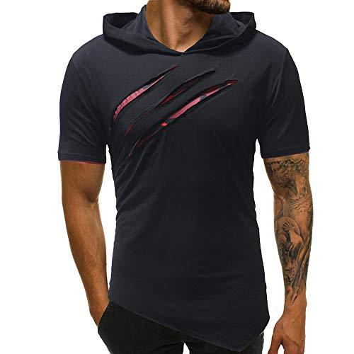 Riou Herren Langarm Hoodie Sweatshirt Slim fit Sweatjacke Kapuzenpullover Pullover T-Shirt Baumwoll Outwear Herren Pure Color Camouflage Nähte Hoodie Langarm Shirt Top (XL, Schwarz T)