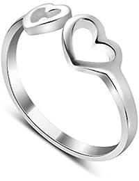 2600dd642 Sterling Silver Adjustable Double Open Heart Midi Ring