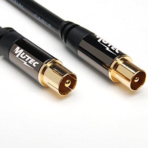 MutecPower 5m Koaxial kabel FR TV / AV Antennenkabel - Stecker auf Stecker mit Gold Steckverbinder und Metallstecker - 5 meter (Cinch-internet-modem)