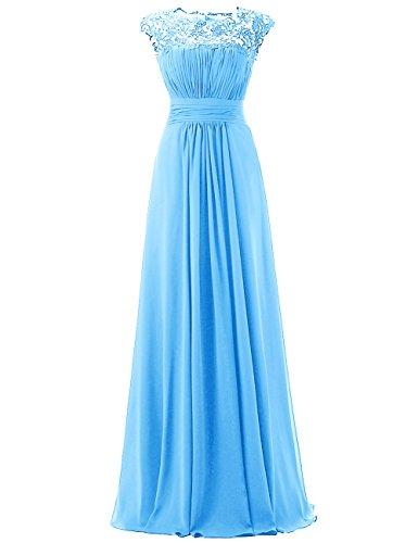 Dresstells, Robe de soirée Robe de demoiselle d'honneur longueur ras du sol forme empire en mousseline dentelle Bleu