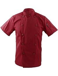 Ropa Traje Chaqueta De Cocinero Para Hombres Mujeres Cuello Mao De Manga Corta Cocina Uniforme Encabeza - rojo, M