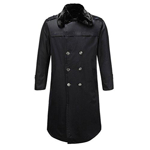 YuanDian Herren Winterjacke Pelzkragen Gepolstert Winddicht Parka Mit Innenfutter Warme Sicherheits Uniformen Arbeitsjacke Mantel Winter Jacken Schwarz One Size