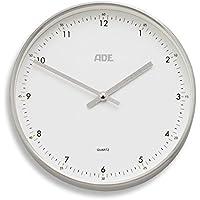 ADE analogico orologio da parete radiocontrollato CK 1603(bianco–argento) - Radiocontrollato Orologio Da Parete Analogico