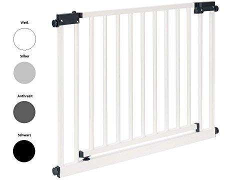 Impag XXL Türschutzgitter Treppenschutzgitter 95 - 143 cm mit extrabreiter Komfort-Tür selbstschließend - zum Klemmen Weiß