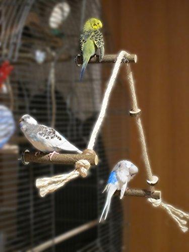 Tolles Sisal Kletterseil mit 3 Naturholz Sitzstangen und leckeren Knabberringen - ein außergewöhnliches Vogelspielzeug