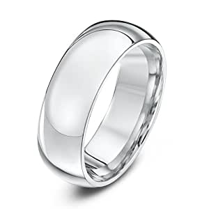 Theia 9ct Heavyweight Court Shape Wedding Ring - 7 mm, White Gold, Size T