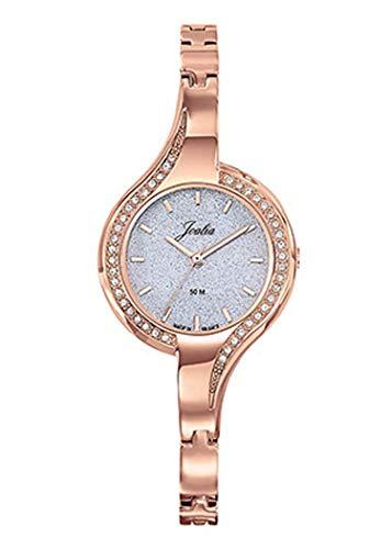 Joalia H630M617 - Orologio da donna con cinturino dorato rosa, lunetta con pietre, quadrante glitterato