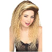 Pelucas mujeres largo rubia Peinado de lado flequillo corrugado carnaval carnaval Halloween Partido 80s