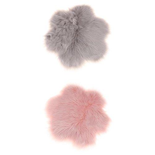 Fenteer 2 stk. Künstliche Schaffell Teppich Fluffy Home Bodenmatte Teppich Sitzkissen