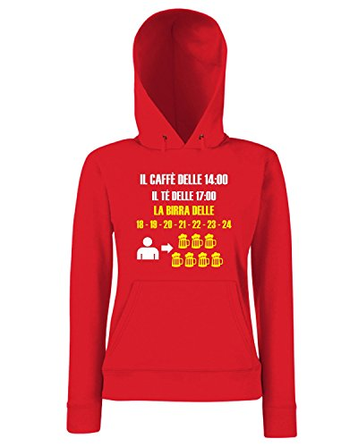 T-Shirtshock - Sweats a capuche Femme T1065 caffe te birra bevande sballo Rouge