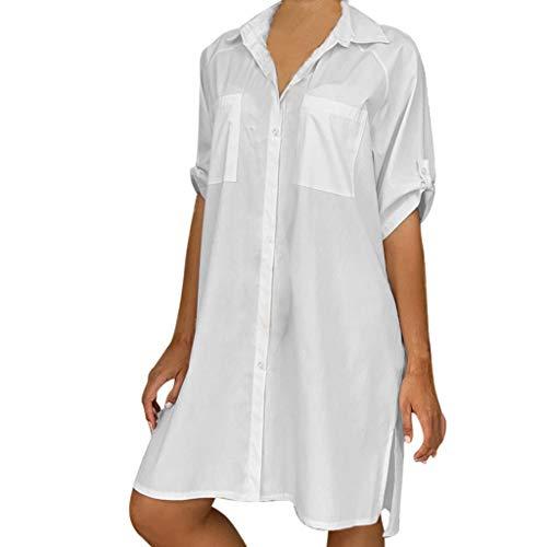 SHINEHUA Blusenkleid Damen V-AusschnittSommerkleid Elegant Kleider Knielang Shirtkleider 1/2 Ärmel Einfarbig Shirt Kurz Minikleid Strand Kleider Hemdkleid Tunika Hemd Bluse mit - Günstige Clubwear Kostüm