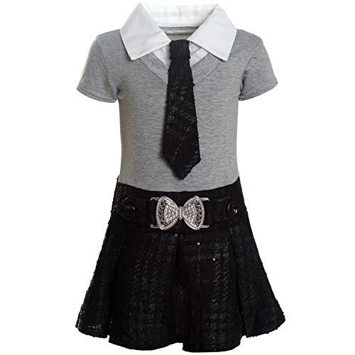 BEZLIT Mädchen Kleider Peticoat Festkleid Freizeit Sommer Kleid Kostüm 21436 Grau Größe 104