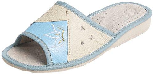 Pantofole in vera pelle | vari colori | soletta ortopedica |91, blu (blue), 39