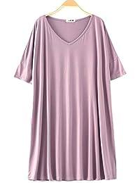 00b2050252 HUIFANG Vestido Camisero Largo para Mujer En Camisón Pijama Modal Camisón  De Gran Tamaño con Abono