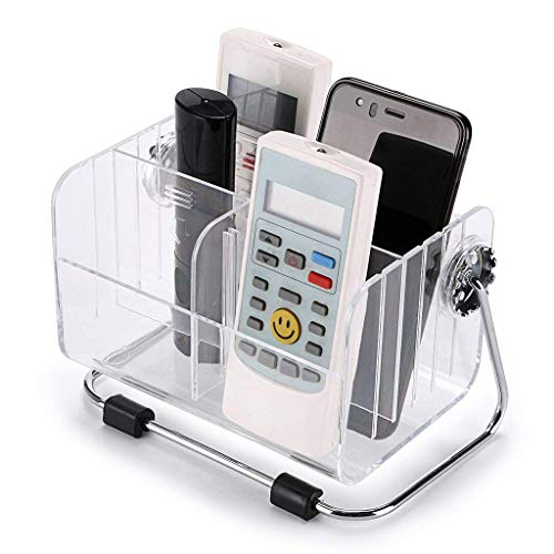 Absales Clear Acrylic Remote Control Holder Organizer Magic Telephone and Stationary Holder Holds up to 6 Remotes,360 Degree Rotatable (Clear)