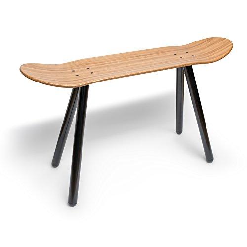 EMILZACKE Skateboard Beistell-Tisch Sitzbank aus Bambus-Holz und schwarzem Metall-Rohr Ablage Couchtisch Hocker Fußbank