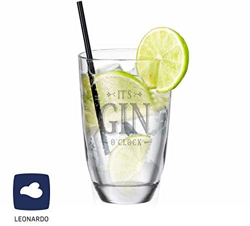 Leonardo GIN-Glas It`s GIN o`clock - Gin Tonic - Geschenkidee - lustiges Weihnachtsgeschenk - für Sie