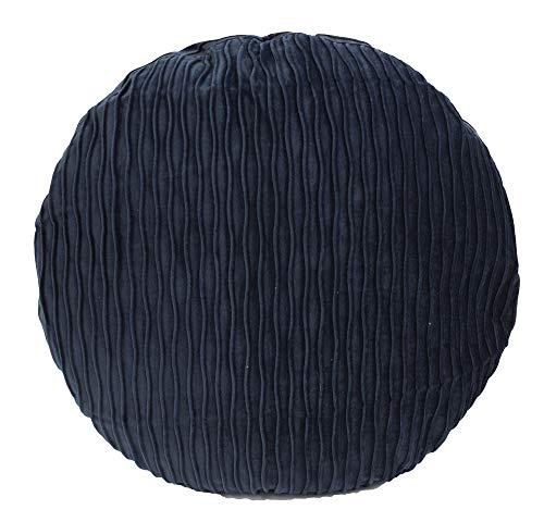 Fennco Stytles Kissenbezug, Samt, strukturierte Akzente, 45,7 cm, rund, dekoratives Kissen für Couch, Schlafzimmer und Wohnzimmer Case Only Navy Blue, 18