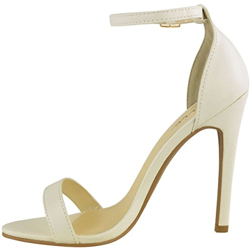 Femme Barely There haute talon cheville Boucle Croix Strappy Mesdames Chaussures Sandales White Lizard