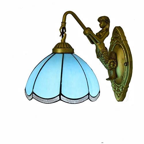 Tiffany-Stil Wandleuchte, mediterranes Design blau gebackenes Glaswand-Waschlicht, Innenlampe Schlafzimmer Balkon Bad Spiegel Lampen, Göttin Base -