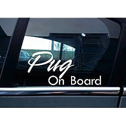 Vinilo On Board de perro carlino, coche