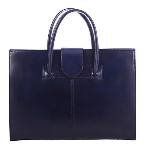 Frau Handtasche Aktentasche Schultertasche und Geldbörsen, 100% echtes Leder Made in Italy Blau