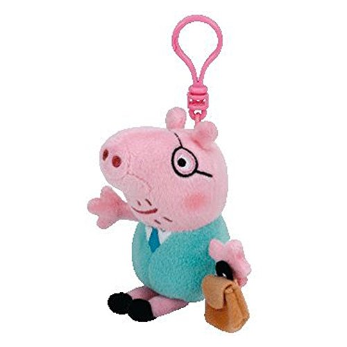 TY Peppa Pig Beanie Baby Clip On - Daddy Pig Clip Key Chain