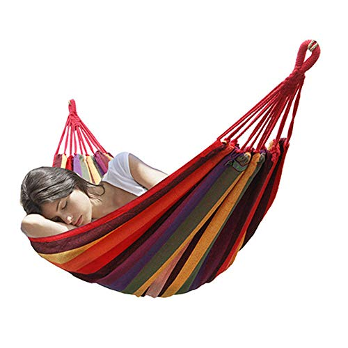 Courtyard Outdoor Camping Canvas Durable Portable Hammock Swing Easy to Install Double Hammock Beach Foldable - Rainbow_180*100 - Single Rope Swing