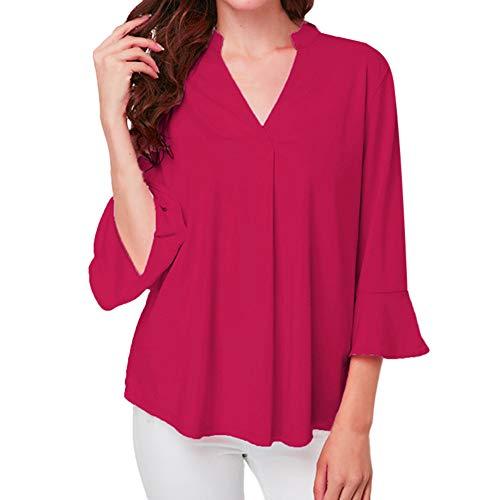 VEMOW Heißer Sommer Herbst Damen Plus Size Solid Langarm Casual Chiffon Damen OL Arbeit Top T-Shirt(X1-Hot pink, EU-40/CN-M)