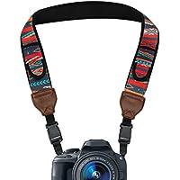 Correa para cámara de fotos de Neopreno USA Gear | Perfecta para camaras Reflex, Evil y compactas | Bolsillos flexibles de neopreno para Accesorios. Ideal para Canon, Nikon, Sony y muchas más. Diseño Aztec