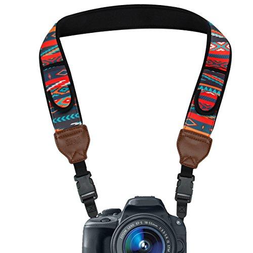 USA Gear Kameragurt für Spiegelreflexkameras: DSLR Schultergurt aus Neopren mit Zubehörtaschen und Quick-Release-Schnallen, Bohemian-Muster