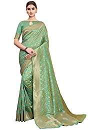 Soru Fashion Women's Pure Banarasi Art Silk Light Green Saree with Blouse Piece (Cott-782_Light Green_5.5 meters)