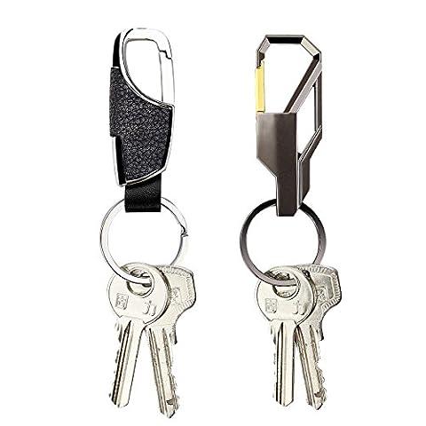 RRunzfon Car Key Chain Key Ring Leather Metal Keychain Key