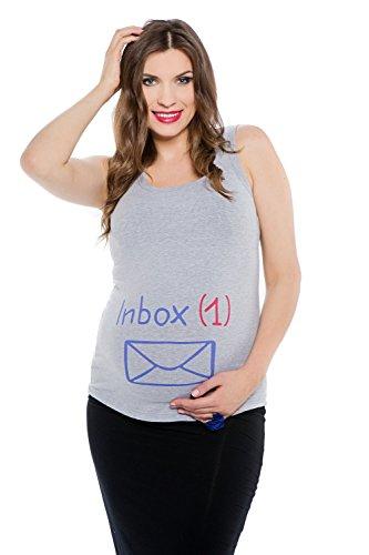 My Tummy Mutterschafts Top Umstands Top Inbox Grau Meliert M (Medium)