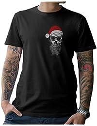 81b4e2548 NG articlezz Camiseta T-Shirt Santa Calavera Frontal y Dibujo en la Espalda  S-