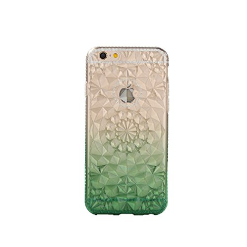 Case for iPhone 6P Translucent Cover Gradient Flexible Soft TPU Anti-Scratch 3D Diamond Durable Protective Shell Bumper Case for Apple iPhone 6 Plus - Yellow Green