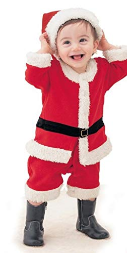 PICCOLI MONELLI Vestito Babbo Natale Neonato a Tutina Intera in Pile soffice e Caldo cm 70/80 cm Max