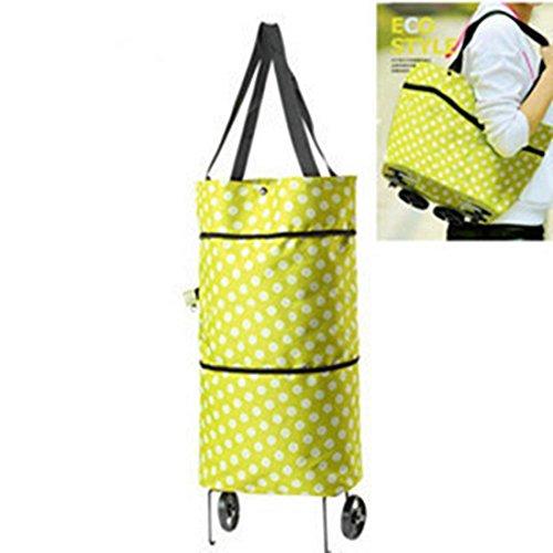 FollowUs Einkaufstasche/Schultertasche mit Rollen, faltbar grün (Co-einkaufstasche)