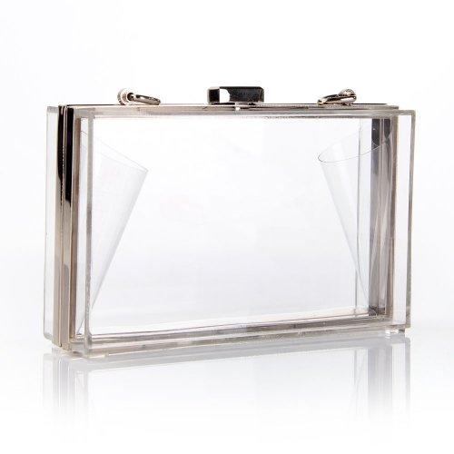 J&G Gorgeous Pearl Luxury Acrylic Clear Damen Evening Clutch Bag Party Prom Hochzeit Handtasche Purse