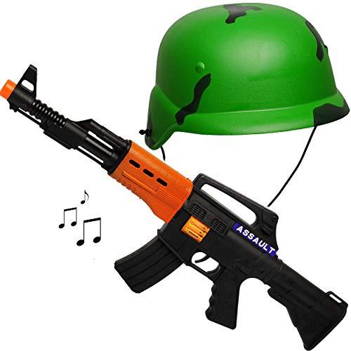 Set: Soldatenhelm + Spielzeuggewehr - Licht & Sound - schwarzes Gewehr / 53 cm lang - Maschinengewehr mit SCHUSSGERÄUSCH - aus Kunststoff - Spielzeug - Faschi..