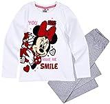 Minnie Mouse Schlafanzug Mädchen Pyjama Disney (Weiß-Grau, 128-134)