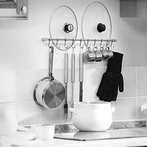 HOMFA Porta Utensili da Cucina in Acciaio Inox con 10 Ganci, 58cm Barra da Parete Carico Fino a 20kg - 5