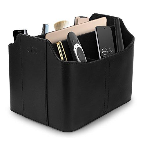 Otto - Organizador y Estuche para mandos a Distancia con Espacio para Tableta, de Cuero (Negro)